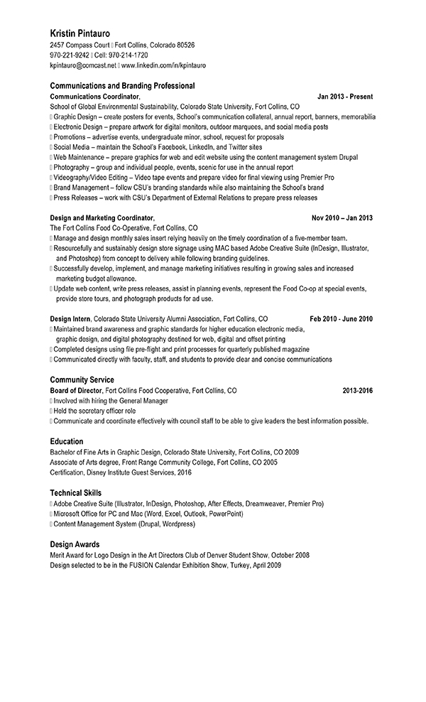 resume for community services